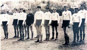 Сяргей Шпак (трэці справа) на абласной спартакіядзе  школьнікаў па футболе, 1965 год